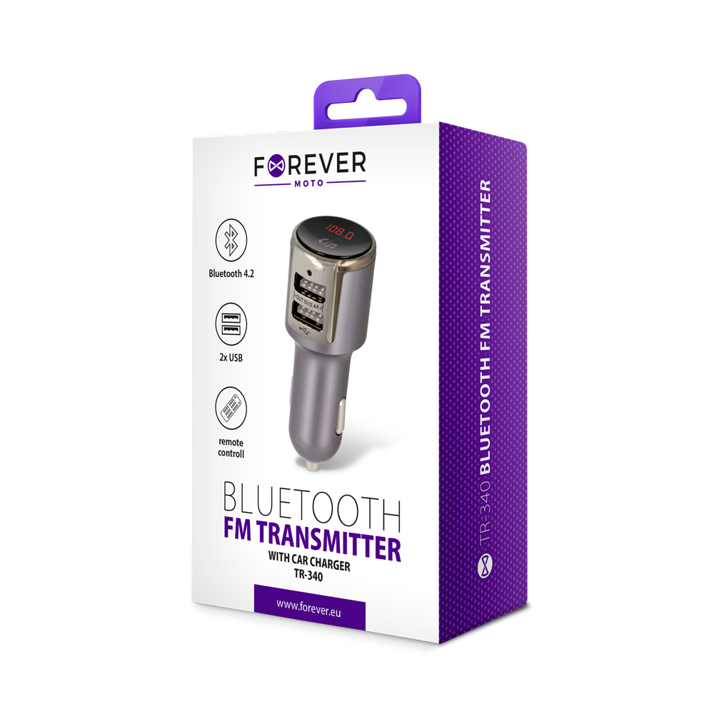 Forever TR-340 Bluetooth MP3 grotuvas/FM bangų moduliatorius (laisvų rankų įranga, microSD, SD, 2xUSB, LCD, 2x2.4A įkroviklis)