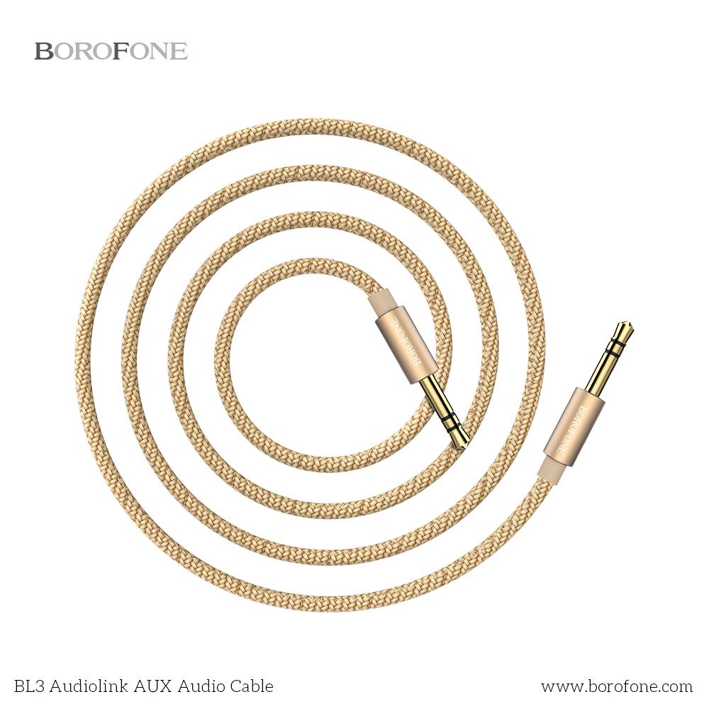 Audio adapteris 3,5mm į 3,5mm Borofone BL3 aukso spalvos