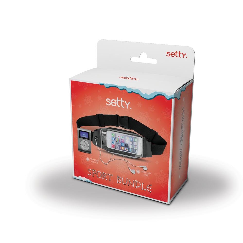 MP3 grotuvas Setty su ausinėmis ir dėklu ant juosmens (LCD) juodas