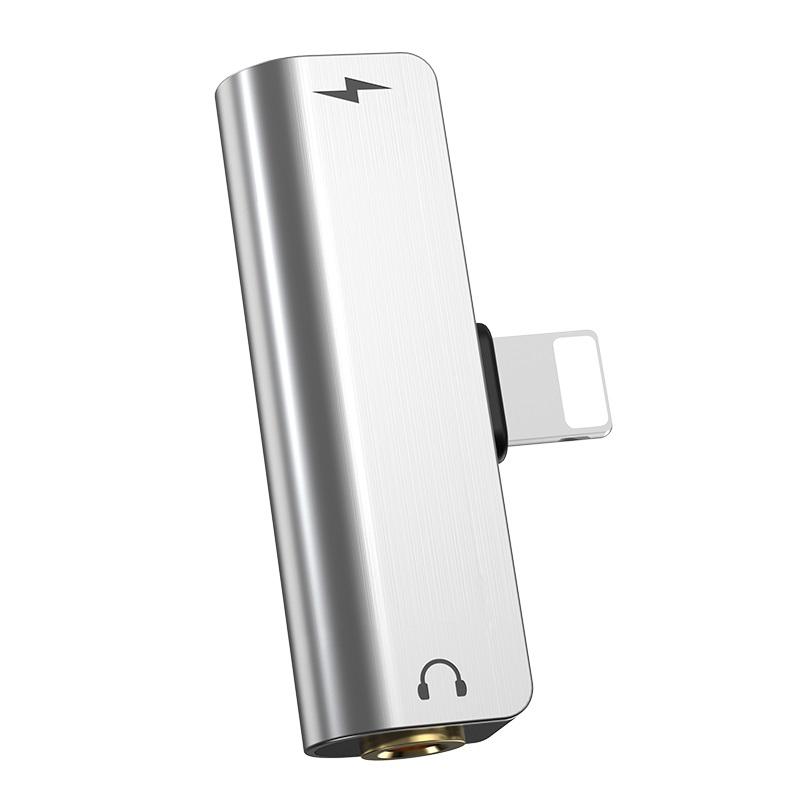 Audio adapteris Hoco LS25 iš Apple Lightning į Lightning + 3,5mm sidabro spalvos