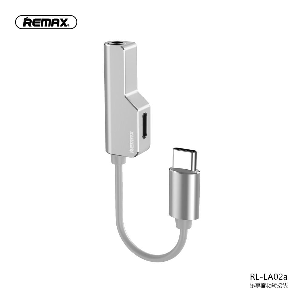 Adapteris Remax RL-LA02a iš Type-C į Type-C + 3,5mm baltas