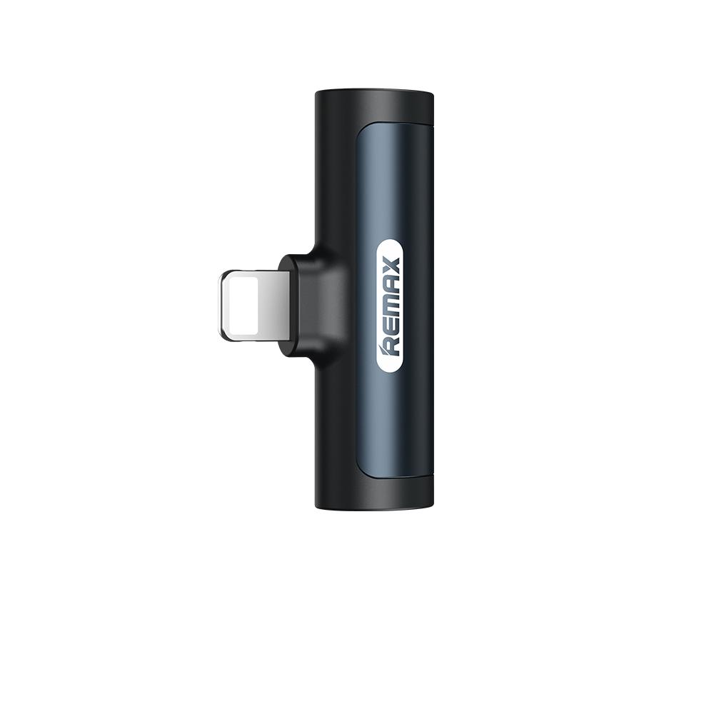 Adapteris Remax RL-LA03i iš Lightning į Lightning + 3,5mm juodas